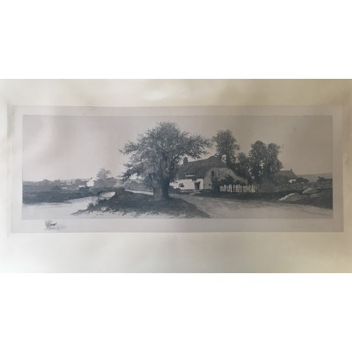 A good framed Victorian pencil drawing of a Village scene. Signed, but artist unidentified. Dimensions(cm) H58 W99