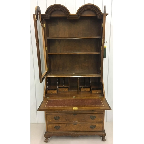 10 - A stunning, hand-crafted, Bureau-Bookcase. Glazed, two shelf bookcase, sits upon four-drawered burea...