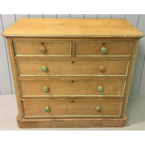 64 - A quality bedroom Chest of Drawers by Lamb of Manchester. 2 over 3 drawers. No key present. Matching...