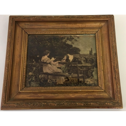 """A charming Crystoleum from late 19th century, signed """"Y King"""". Depicts two ladies talking by a river. Frame width 38cm, height 33cm"""