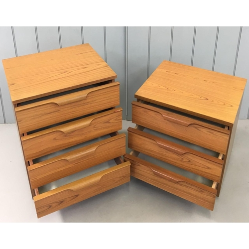 123 - A pair of mid-century, Teak Bedside/Side Drawers, made by Austinsuite. Four drawer & three drawer un...