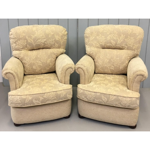 161 - Cream/Floral three-piece Suite. Two armchairs & a 3-seater sofa. Dimensions(cm) Sofa H100 (42 to sea...