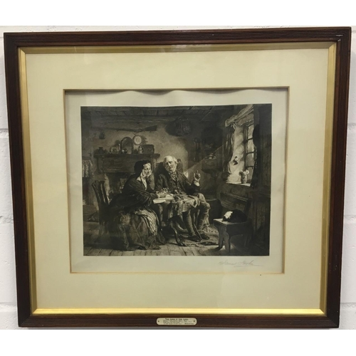 """A rare Print, signed by James Dobie (1865-1905) of """"The Land o' The Leal"""" (after Alexander Johnston 1815-1891). Interior of a cottage with elderly couple, the woman sat with hands clasped on table and downcast eyes, as her husband attempts to raise her spirits, gesturing towards the window through which sunlight streams at right. Framed with brass plate lettered below image with title and four lines of an 'old scotch song' beginning: """"There's nae sorrow here, Jean..."""" Dimensions(framed) (cm) H71 W81 D3"""