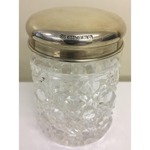 370 - Hallmarked Silver Dressing Table Jar. Birmingham 2005. Made by The Original Perfume Bottle Company. ...