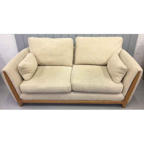 163 - A quality, Ercol Three-Piece Suite. Beige upholstered. Large 2-seater sofa, with two chairs. Sofa Di...