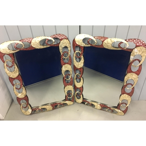 72 - A stunning pair of funky mirrors! Interlocking, oval metal frame in striking red, yellow, metal colo...