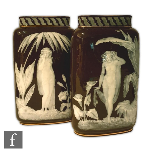 24 - A pair of late 19th Century George Jones pate-sur-pate vases attributed to Frederick Schenck, each d...