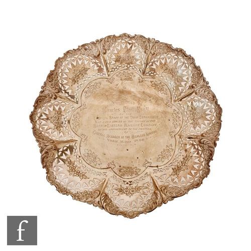 32 - A hallmarked silver pedestal comport, pierced circular base raised on three scroll feet below knop c...