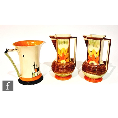 13 - Three 1930s Art Deco Myott jugs comprising a pair of Square Neck in pattern 9698 and one Lemonade in...