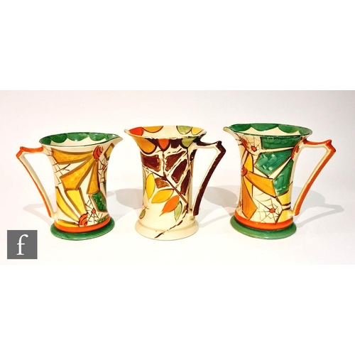15 - Three 1930s Art Deco Myott Lemonade jugs comprising two graduated in pattern 8708 with a hand painte...