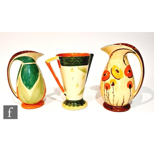 20 - Three 1930s Art Deco Myott jugs comprising two Chicken Neck in pattern BGi and 9818 and one Conical ...