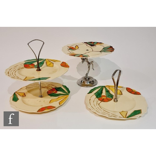 22 - Three 1930s Art Deco Myott cake stands of varying form, the first in pattern 8915 with a chrome danc...