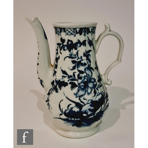 26 - A late 18th Century Worcester coffee pot decorated in the blue and white Hollow Rock Lily pattern, l...