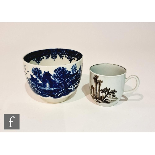 28 - A late 18th Century Worcester Chinoserie coffee cup transfer decorated with a black and white classi...