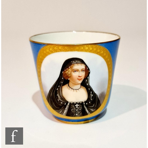 35 - A 19th Century Sevres cabinet cup decorated with a hand painted portrait of Henriette d'Angleterre w...