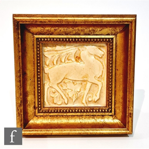 44 - A 1950s framed Marsden 4in dust pressed tile, intaglio molded with a stag, the design attributed to ...