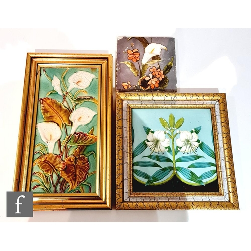 45 - A 19th Century framed 8in Mintons Hollins & Co dust pressed tile decorated with a transfer and hand ...