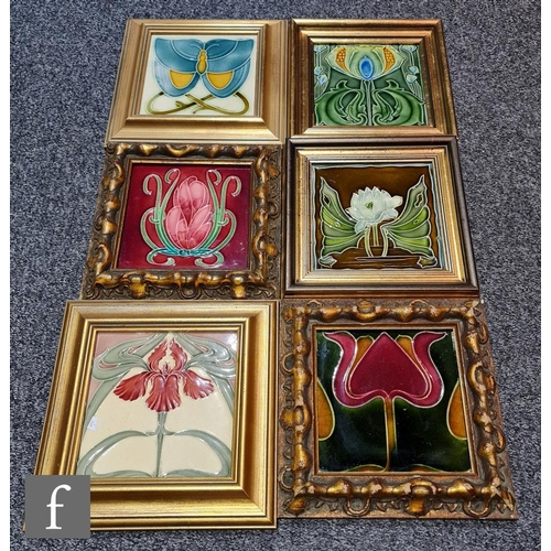 46 - Six assorted late 19th to early 20th Century framed Art Nouveau 6in dust pressed tiles each with mou...