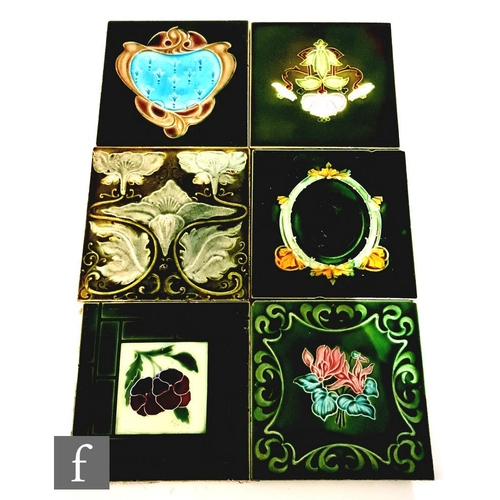 54 - Six assorted early 20th Century Art Nouveau 6in dust pressed tiles, to include four T.A Simpson exam...