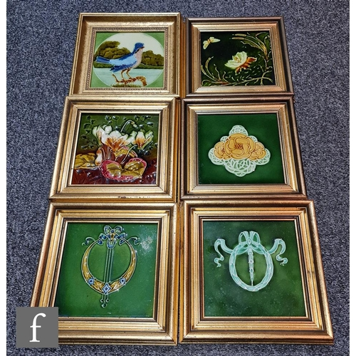 58 - Six framed 6in dust pressed Art Nouveau tiles to include one T.R Boote decorated with a relief mould...