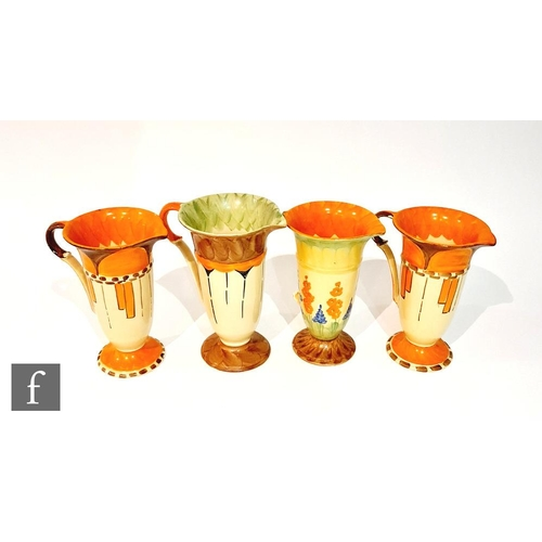 7 - Four 1930s Art Deco Myott Trumpet jugs comprising a pair decorated in pattern P9643 with orange and ...
