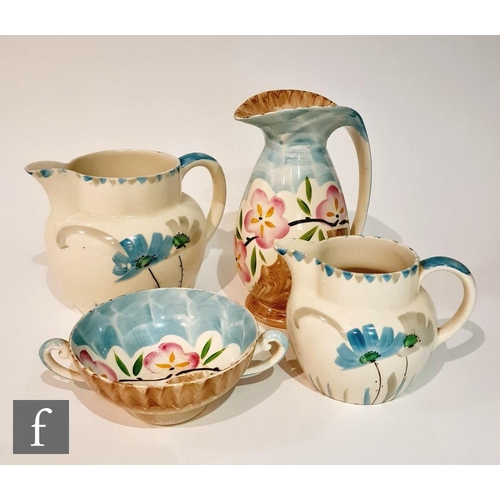 9 - Four pieces of 1930s Art Deco Myott comprising a 'Chicken Neck' jug decorated in the hand painted M....