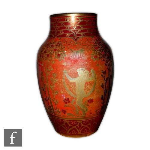 59 - Richard Joyce - Pilkingtons Royal Lancastrian - A shape 2085 lustre vase of shouldered form decorate...