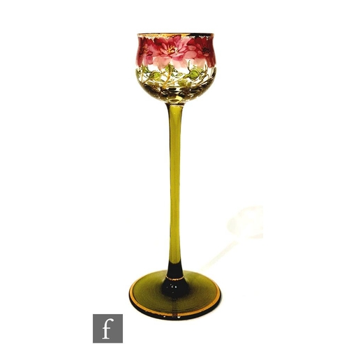 28 - Theresienthal - An early 20th Century drinking glass with a cup bowl with everted rim, decorated wit...