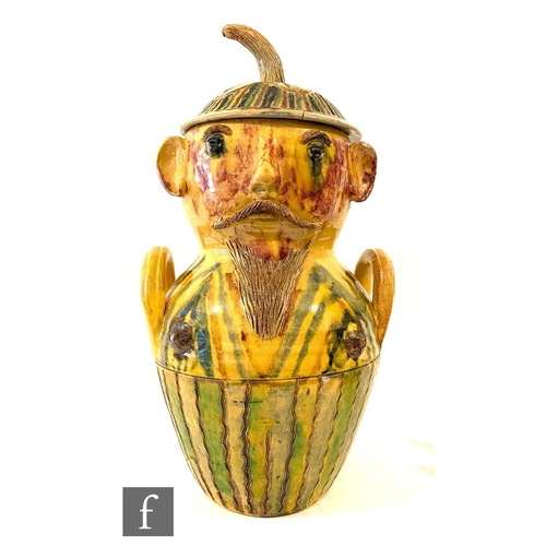 32 - Unknown - A large early 20th Century continental Arts and Crafts jar and cover modelled as a stylise...