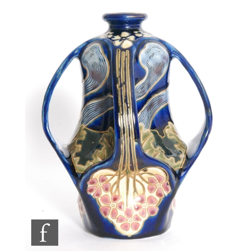 2 - Sandor Apati Abt - Zsolnay - An early 20th Century Jugendstil / Art Nouveau vase with four pulled ha...