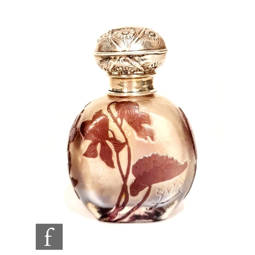 12 - Galle - An early 20th Century cameo glass and hallmarked silver scent bottle, of compressed ovoid fo...
