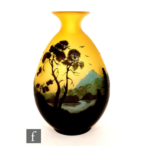 13 - Galle - An early 20th Century cameo glass vase, circa 1900, of compressed ovoid form with everted ri...