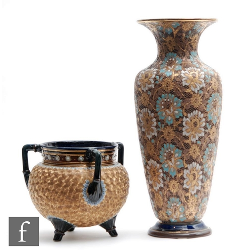 15 - A large late 19th Century Doulton Lambeth Slaters Patent Chine ware vase decorated in the typical ma...
