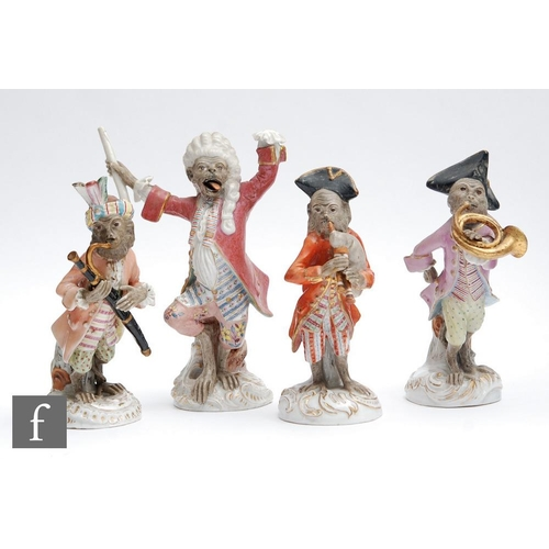 2 - Four 19th Century continental Monkey Band orchestra musicians, after the Meissen original, comprisin...
