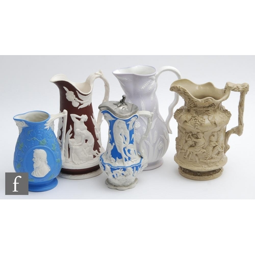 31 - Three 19th Century Samuel Alcock & Co parian jugs, the first with classical allegorical scenes t...