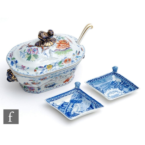 34 - A small 19th Century Davenport Stone China tureen and cover decorated with a blue and white transfer...