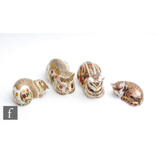58 - Four boxed feline Royal Crown Derby paperweights comprising sleeping kitten, Lavender, Clover and co...