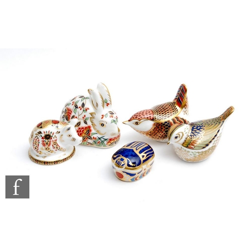 59 - Five boxed Royal Crown Derby paperweights comprising Meadow Rabbit, Millennium Bug, Piglet, Derby Wr...