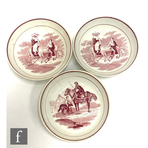 25 - A set of six 19th Century Dawson teabowls and saucers each decorated with a red and white transfer p...