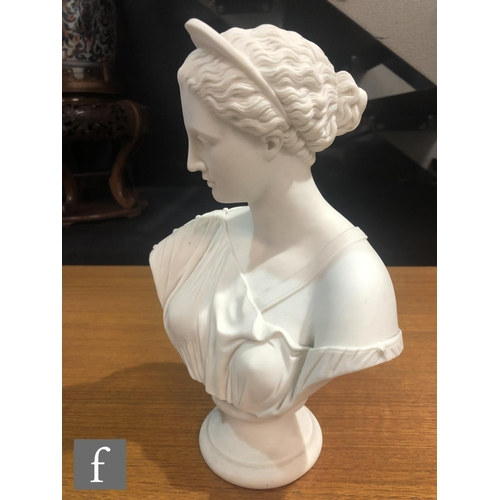 48 - A 19th Century Parian bust of a classical lady, raised to a socle base, unmarked, height 24cm.