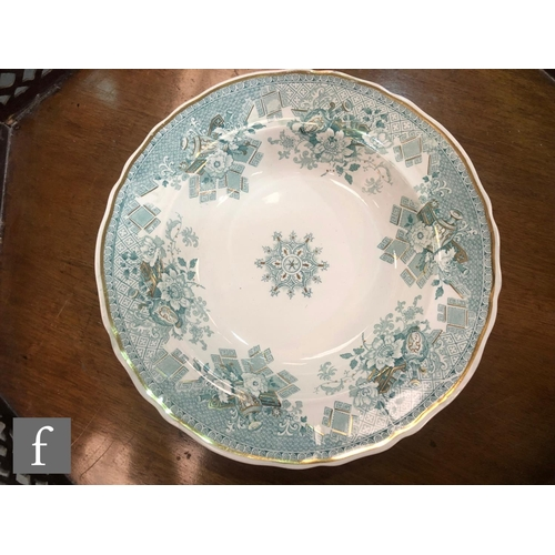 32 - A collection of assorted 19th Century plates to include a Gustafsberg (Gustavsberg) green majolica p...