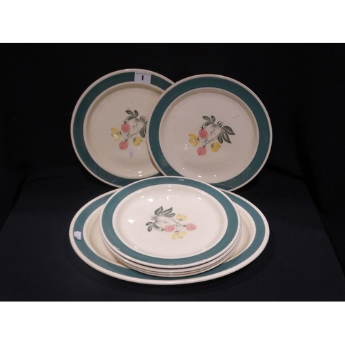 1 - A Susie Cooper Design Floral Serving Plate & Six Circular Plates