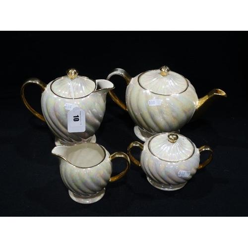 10 - A Sadler Pottery Pearl Lustre Four Piece Tea Service