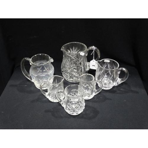 2 - Six Cut Glass & Other Water Jugs