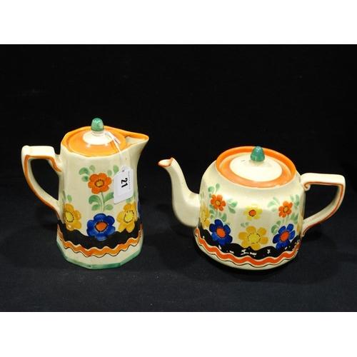 21 - A Wade Heath Floral Painted Teapot & Hot Water Jug