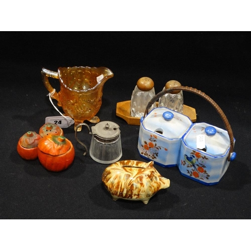 24 - A Slip Glazed Pottery Money Box (Af) Together With Three Early 20th Century Cruet Sets Etc