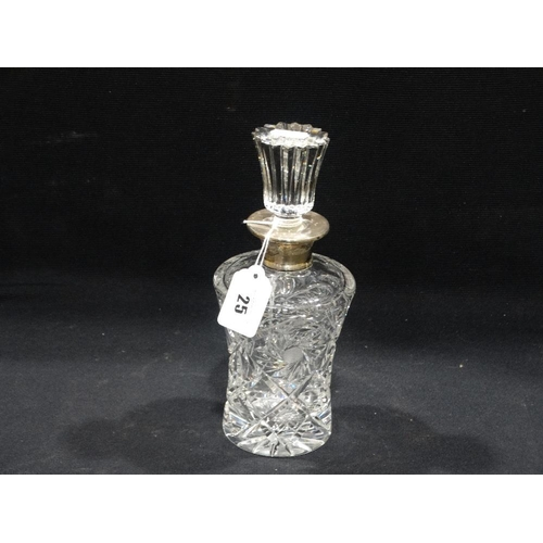 25 - A Cut Glass Oil Bottle With Silver Collar