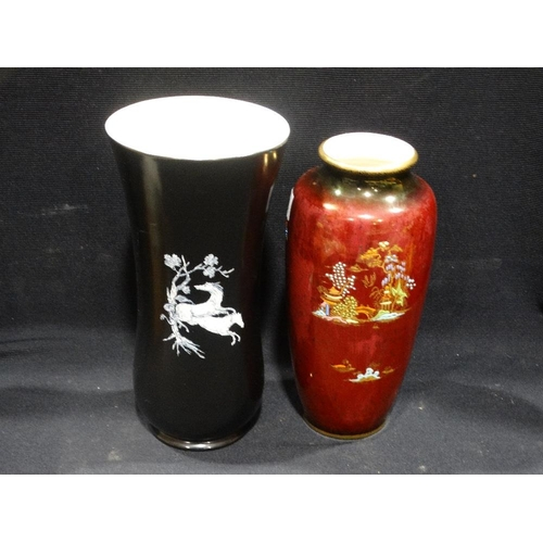 32 - A Crown Devon Lustre Decorated Vase, Together With A Further Black Ground Vase