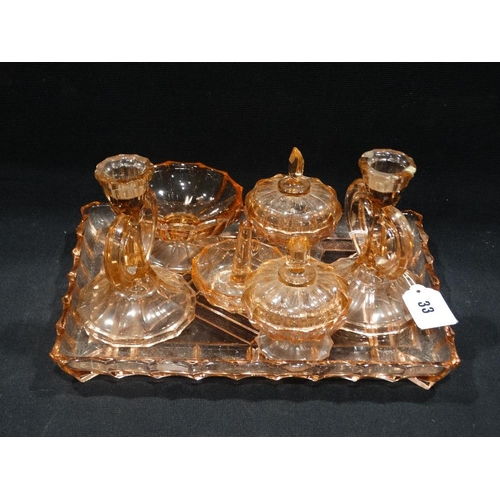 33 - An Early 20th Century Pink Tinted Glass Dressing Table Set