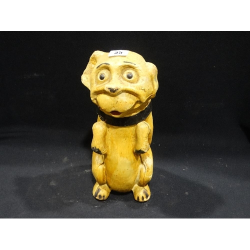 35 - An Early 20th Century Moulded Card Model Of A Begging Dog